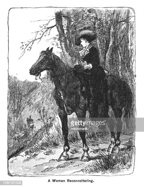 old engraved illustration of the woman on the horseback - the royal photographic society stock pictures, royalty-free photos & images