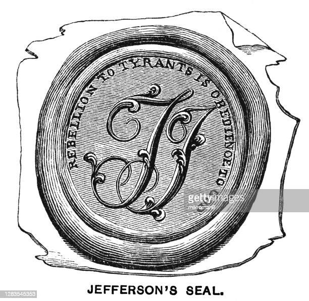 old engraved illustration of thomas jefferson's seal - united states presidential election stock pictures, royalty-free photos & images