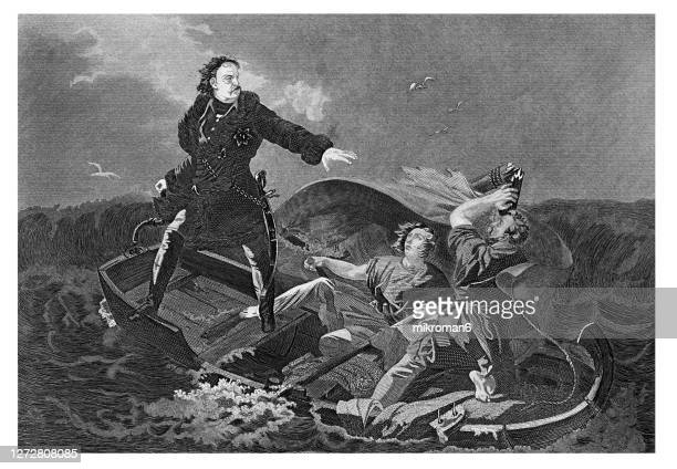 old engraved illustration of tsar peter i the great crossing the neva river - duke stock pictures, royalty-free photos & images