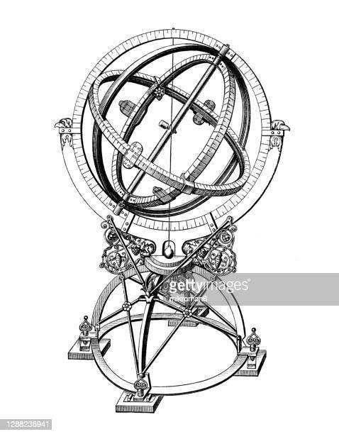 old engraved illustration of tycho brahe's equatorial armillary sphere. - white background stock pictures, royalty-free photos & images