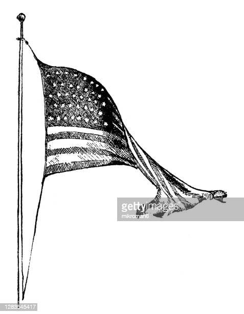 old engraved illustration of united states flag - history stock pictures, royalty-free photos & images