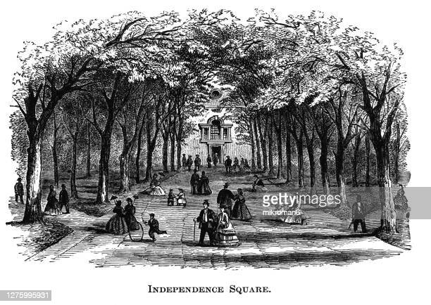 old engraved illustration of view of independence square in philadelphia, pennsylvania, usa - 100th anniversary stock pictures, royalty-free photos & images