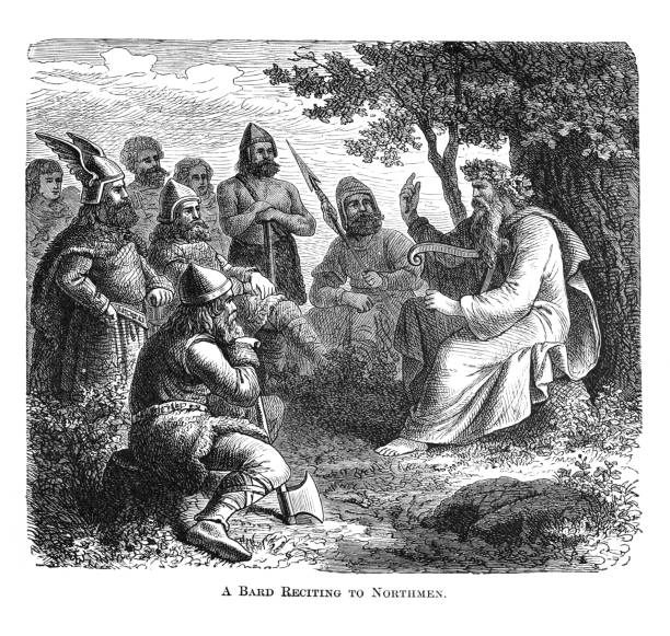 Old engraved illustration of Viking bard singing of heroic legends to Northmen