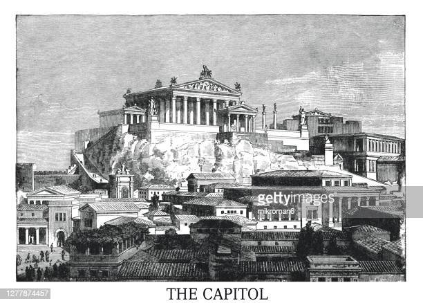 old engraved illustration of visual reconstruction of the temple of jupiter optimus maximus at olympia in ancient rome - ancient rome stock pictures, royalty-free photos & images