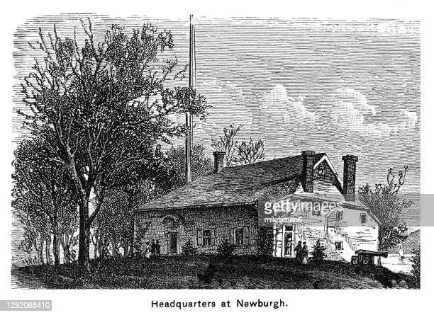 old engraved illustration of washington's headquarters or hasbrouck house, newburgh, new york - united states presidential election stock pictures, royalty-free photos & images