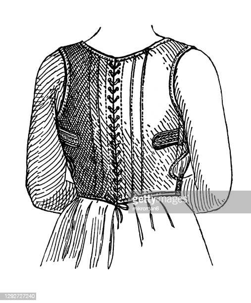 old engraved illustration of ways to correct posture defects - corset stock pictures, royalty-free photos & images
