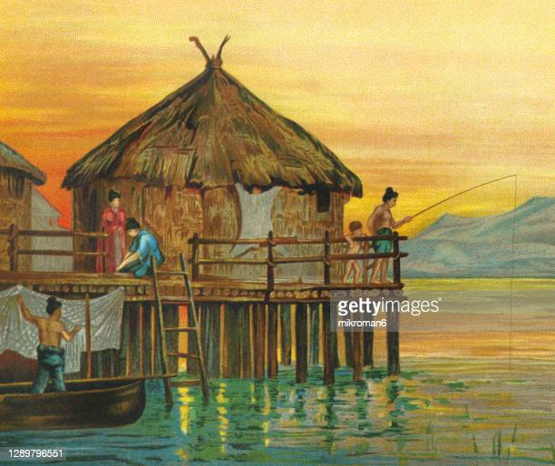 old engraved illustration of west indigenous aryans barbarism - lake dwelling of switzerland - unfairness stock pictures, royalty-free photos & images