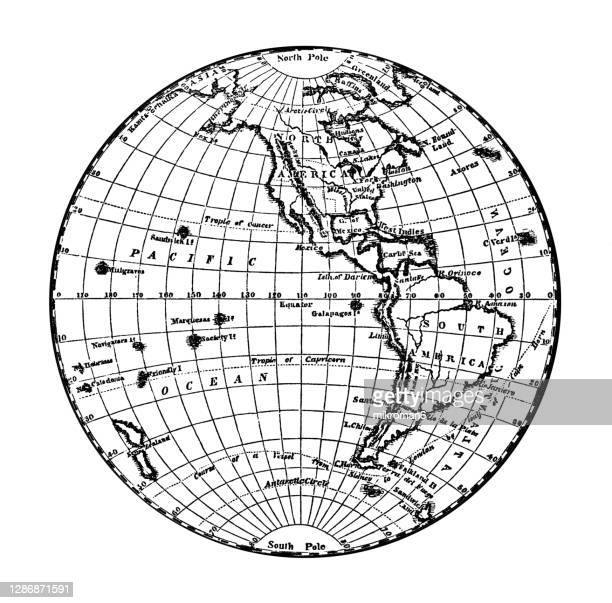 old engraved illustration of western hemisphere - illustration technique stock pictures, royalty-free photos & images