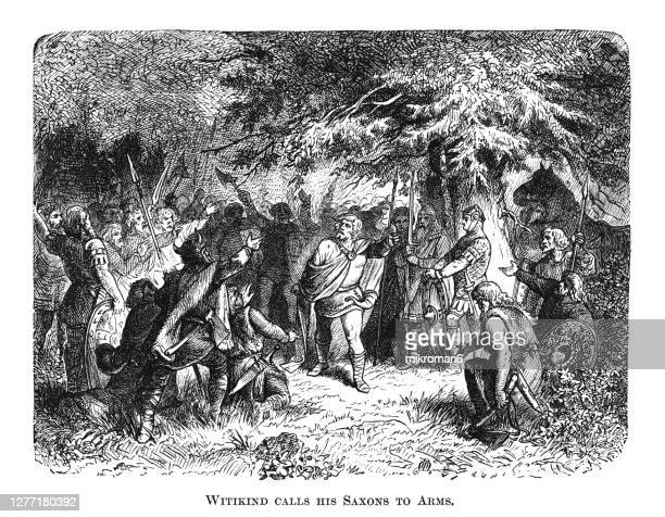 old engraved illustration of witikind duke of saxony (widukind, wittekind) calls his saxon to arms - duke stock pictures, royalty-free photos & images