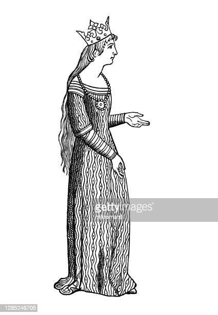 old engraved illustration of women's medieval dress cotte hardie (cote and cotehardie) - queen royal person stock pictures, royalty-free photos & images