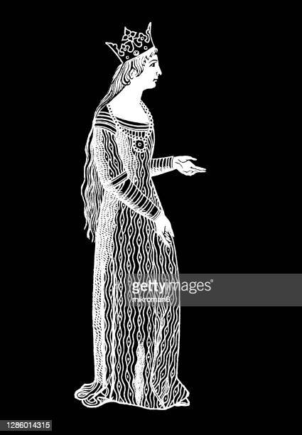 old engraved illustration of women's medieval dress cotte hardie (cote and cotehardie) - the royal photographic society stock pictures, royalty-free photos & images