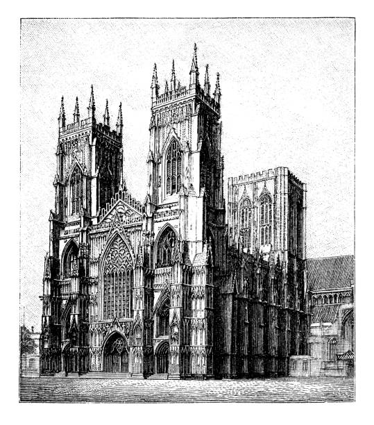 Old engraved illustration of York Minster - Gothic Style Architecture (13 -14 century)