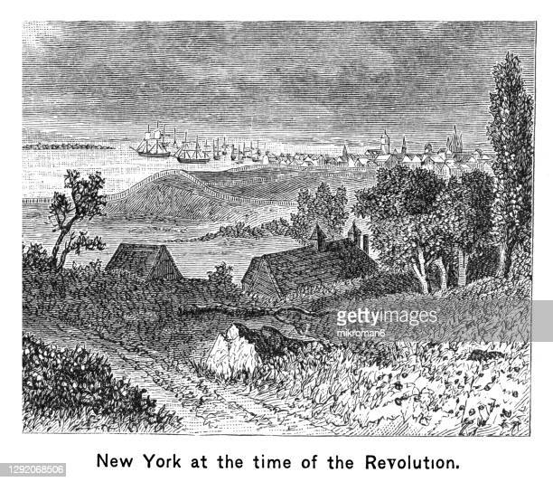 old engraved map of new amsterdam, now new york, usa at the time of the revolution - 1600s stock pictures, royalty-free photos & images