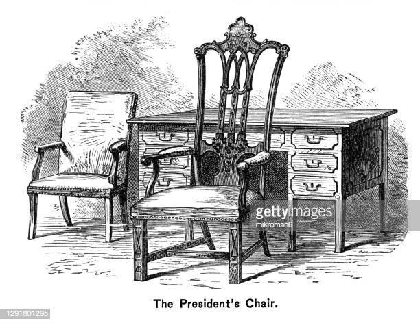 old engraved map of the president's chair - united states presidential election stock pictures, royalty-free photos & images