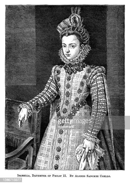 old engraved portrait of isabella clara eugenia isabella clara eugenia by alonso sánchez coello - the royal photographic society stock pictures, royalty-free photos & images
