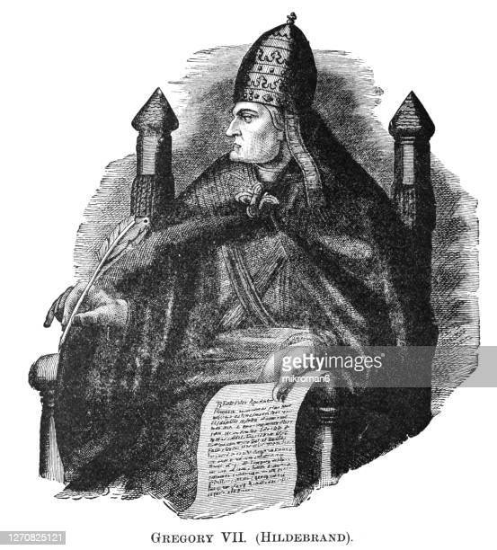 old engraved portrait of pope gregory vii (hildebrand) - pope stock pictures, royalty-free photos & images