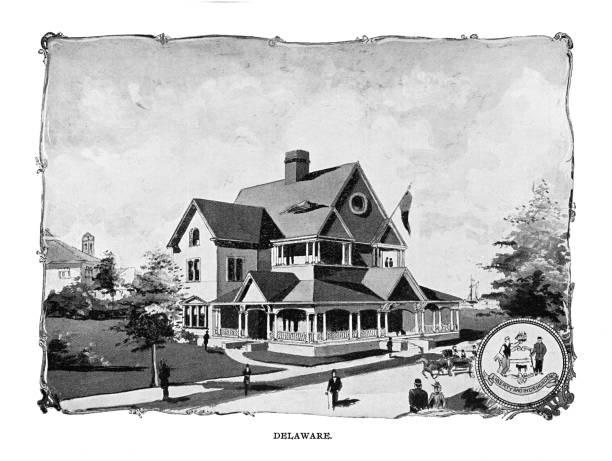 Old engraving illustration of Delaware State Building at Columbian Exposition