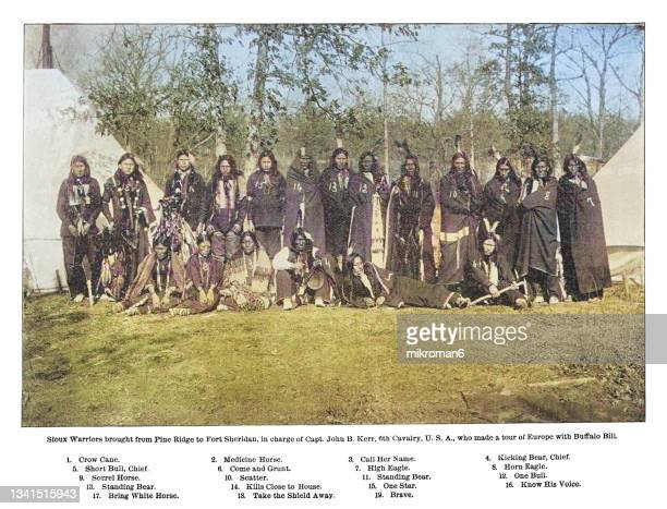 old engraving illustration of sioux warriors brought from pine bridge to fort sheridan, in charge of capt. john b. kerr - lakota culture stock pictures, royalty-free photos & images