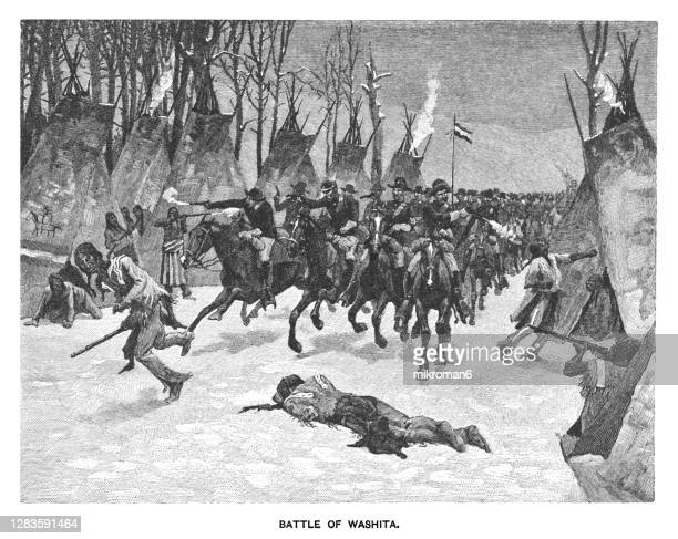 old engraving illustration of the battle of washita river, battle of the washita, the washita massacre - mass murder stock pictures, royalty-free photos & images
