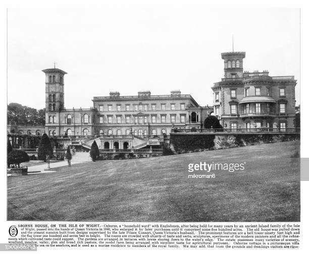 old engraving illustration on the osborne house, the isle of wight favourite place of queen victoria to visit - the royal photographic society stock pictures, royalty-free photos & images