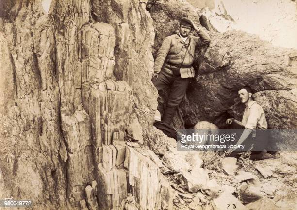 Old entrance to a mine with Dr Grote and MacAlister Egypt 1900 Queen Cleopatra's Emerald Mines Expedition 1900