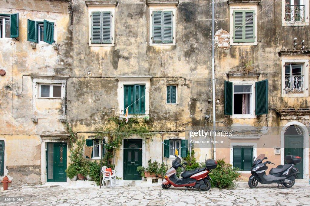 Old facades in Corfu Town, Corfu Island, Greece : Stock Photo