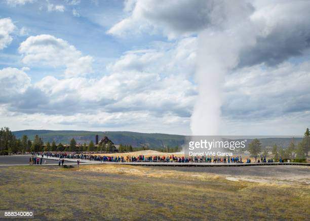 Old Faithful Geyser at Yellowstone National Park in Wyoming, USA