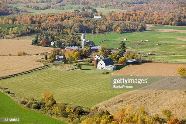 Old Farm with Fall Fields and Trees Aerial