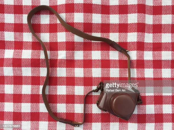 old fashion camera on a picnic mate - rafael ben ari - fotografias e filmes do acervo