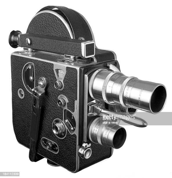 old fashioned 16 mm movie camera isolated on white - movie camera stock pictures, royalty-free photos & images