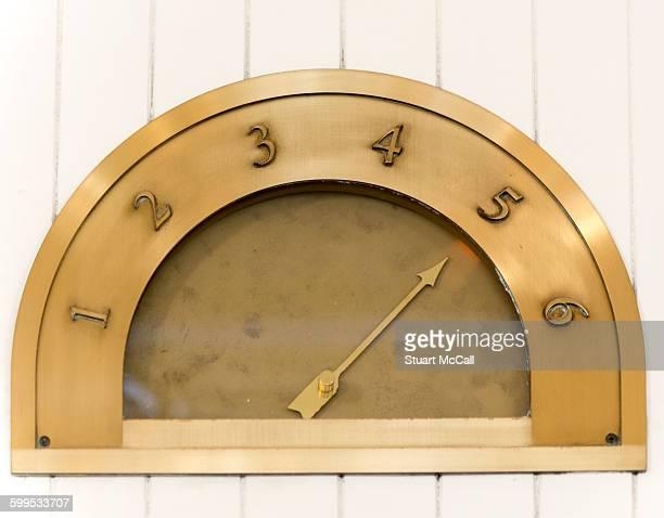 Old fashioned brass elevator indicator