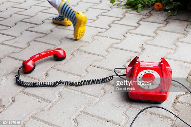 Old fashioned (antique) bright red phone