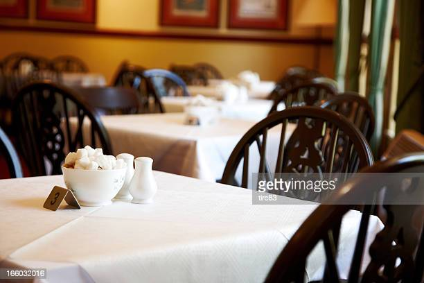 Old fashioned british café tables