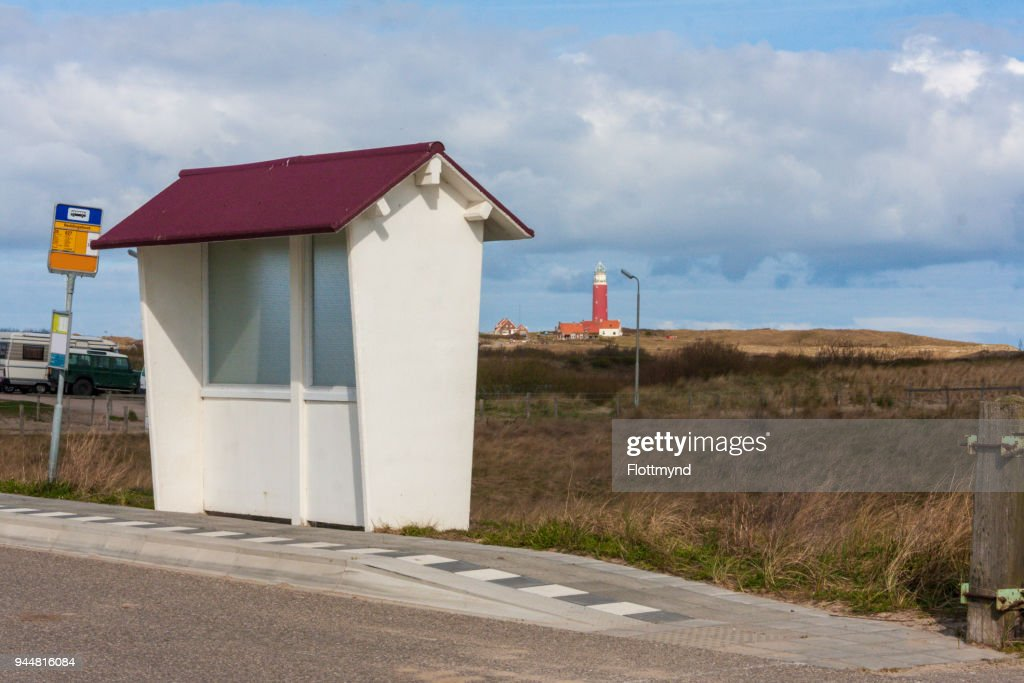Old fashioned bus stopon the island of Texel, the Netherlands : Stock Photo