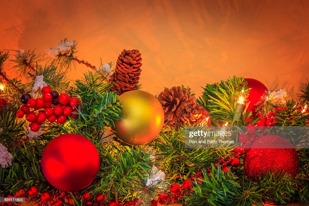 old fashioned christmas decorations p stock photo