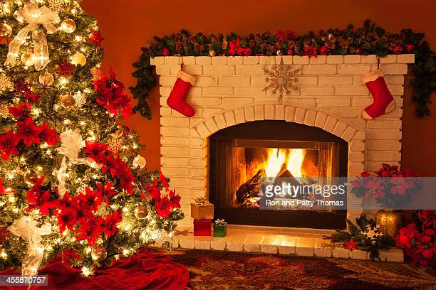 Old fashioned Christmas Fireplace and Tree (P)
