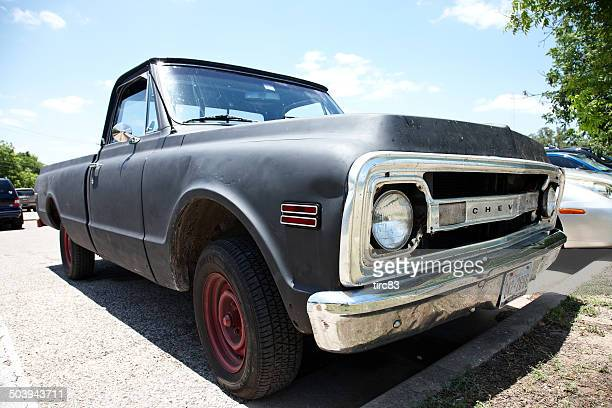 old fashioned classic chevrolet pickup truck - curbside pickup stock pictures, royalty-free photos & images