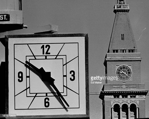 APR 25 1966 Old Fashioned Clock Keeps Old Time The clock on the old Daniels and Fisher tower had not been moved ahead by Monday morning to conform...