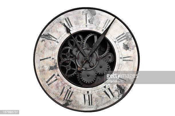 old fashioned clock with visible center gears - klok stockfoto's en -beelden