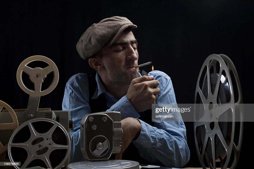 Old Fashioned Film Director With Cinema Equipments : Stock Photo