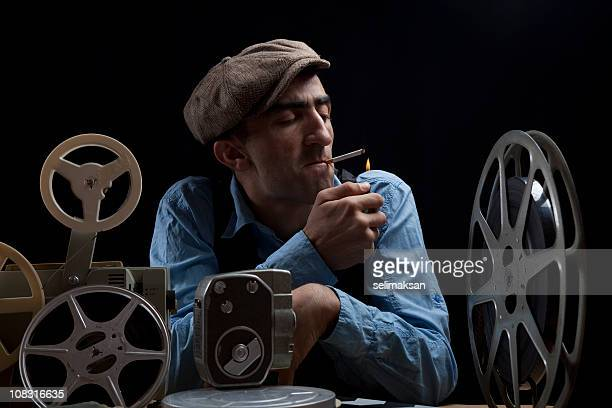 Old Fashioned Film Director With Cinema Equipments