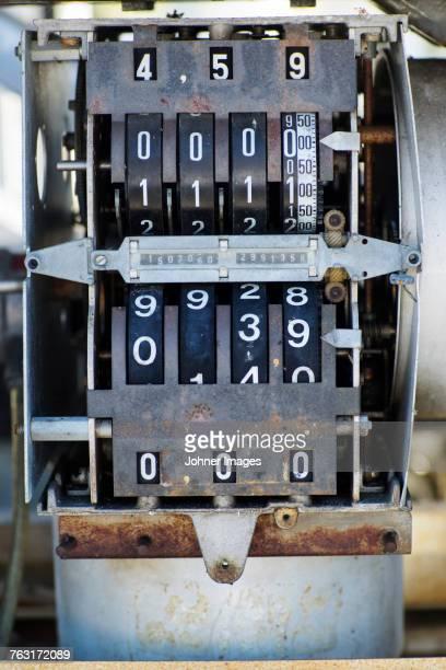 Old fashioned gas pump gauges