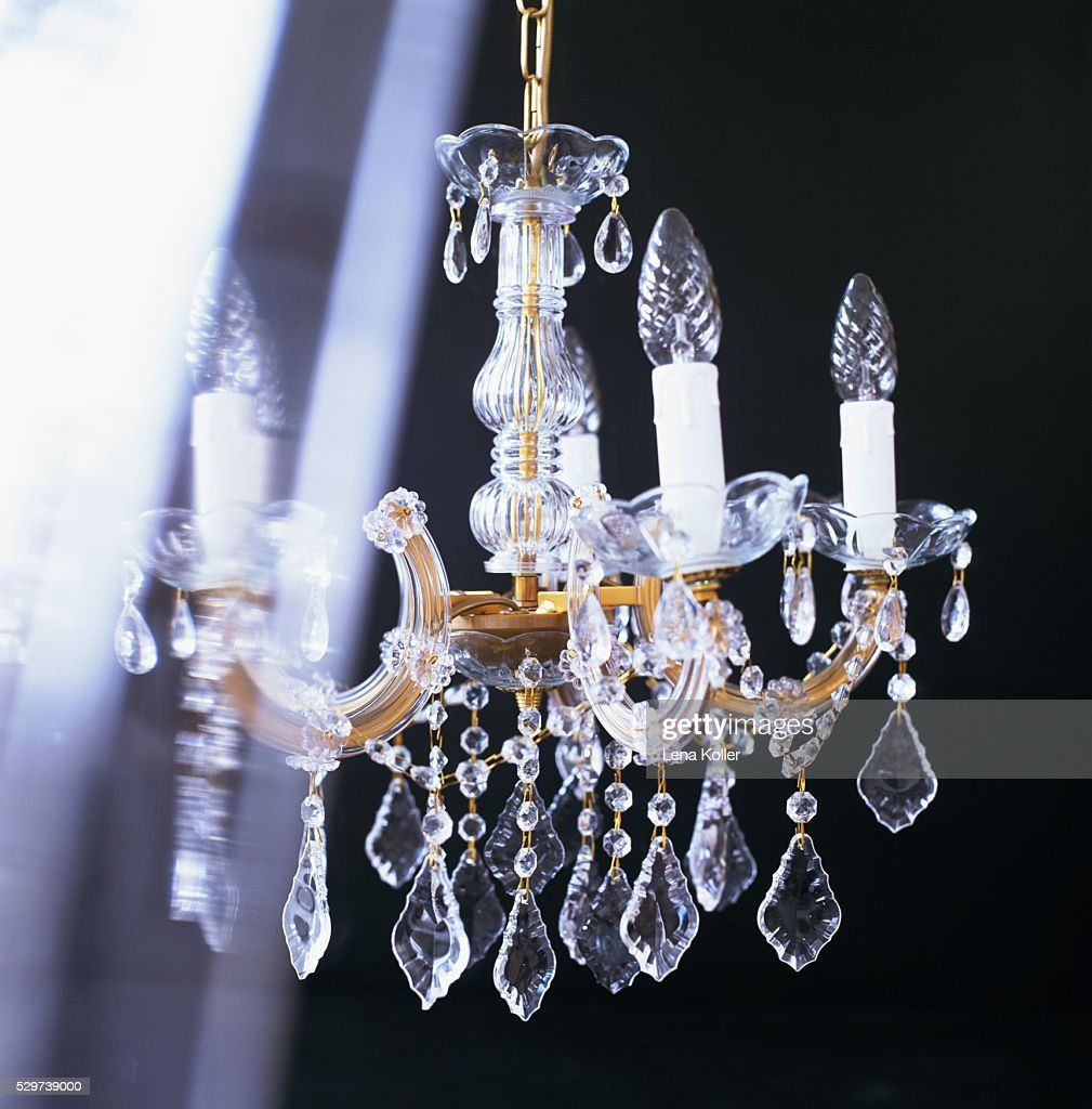Old Fashioned Glass Chandelier Stock Photo