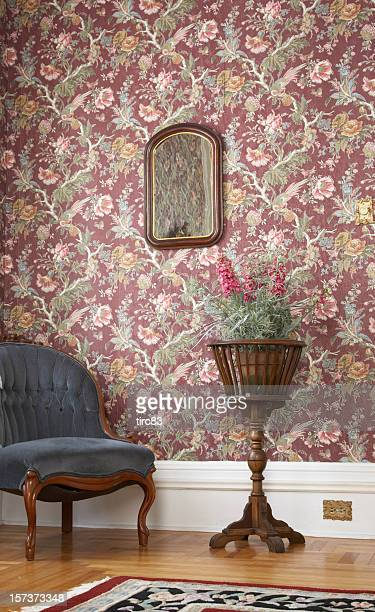 old fashioned house interior - victorian wallpaper stock pictures, royalty-free photos & images