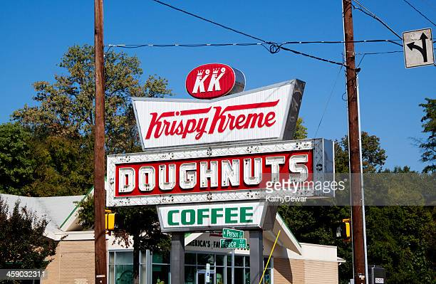 old fashioned krispy kreme doughnut and coffee sign - raleigh north carolina stock pictures, royalty-free photos & images