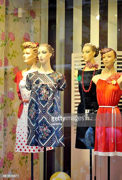 Old fashioned mannequins and window shopping.