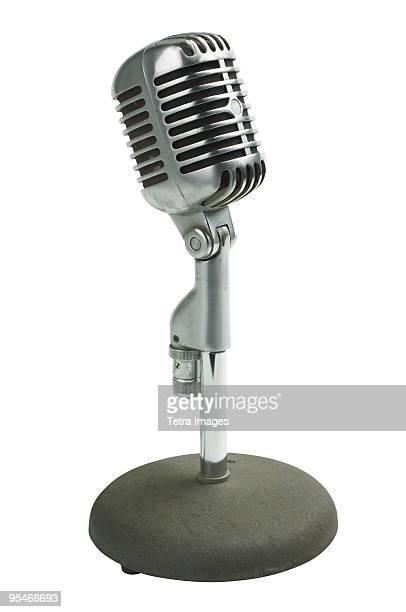 old fashioned microphone - micro photos et images de collection