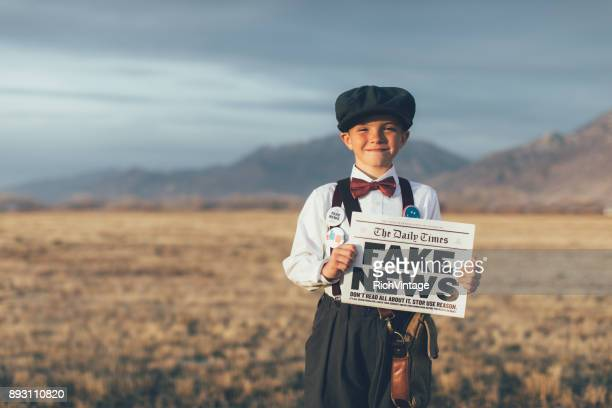 Old Fashioned News Boy Holding Fake Newspaper