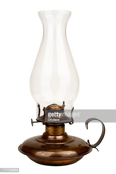 old fashioned oil lamp  isolated on white - oil lamp stock pictures, royalty-free photos & images