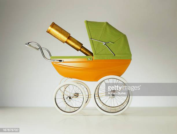 Old Fashioned pram with Telescope.